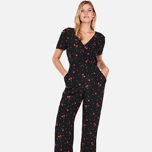 Black and Cherries Print Jumpsuit Express